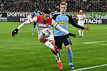 15.02.2020, Merkur Spiel-Arena, Duesseldorf, GER, 1. BL, Fortuna Duesseldorf vs. Borussia Moenchengladbach, DFL regulations prohibit any use of photographs as image sequences and/or quasi-video<br /> <br /> im Bild / picture shows: v. li. im Zweikampf Alfredo Morales (#6, Fortuna Duesseldorf) Oscar Wendt (#17, Borussia Moenchengladbach) <br /> <br /> Foto © nordphoto/Mauelshagen