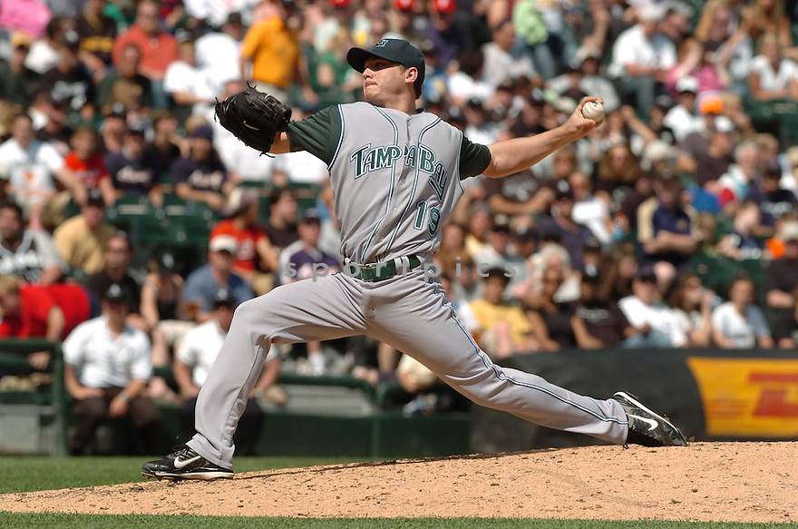 SCOTT KAZMIR, of the Tampa Bay Devil Rays , in action during the  Devil Rays  game against the Chicago White Sox  in Chicago, IL, on May 27,  2007...Devil Rays  win 11-5...DAVID DUROCHIK / SPORTPICS.