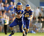 BROOKINGS, SD - AUGUST 31:  Jimmie Forsythe #25 from South Dakota State University returns a kick against Butler in the first quarter Saturday evening at Coughlin Alumni Stadium in Brookings. (Photo by Dave Eggen/Inertia)