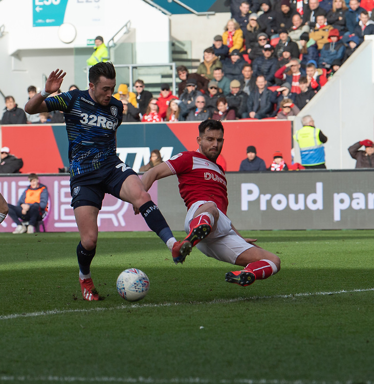 Leeds United's Jack Harrison (left) is tackled by Bristol City's Tomas Kalas (right) <br /> <br /> Photographer David Horton/CameraSport<br /> <br /> The EFL Sky Bet Championship - Bristol City v Leeds United - Saturday 9th March 2019 - Ashton Gate Stadium - Bristol<br /> <br /> World Copyright © 2019 CameraSport. All rights reserved. 43 Linden Ave. Countesthorpe. Leicester. England. LE8 5PG - Tel: +44 (0) 116 277 4147 - admin@camerasport.com - www.camerasport.com