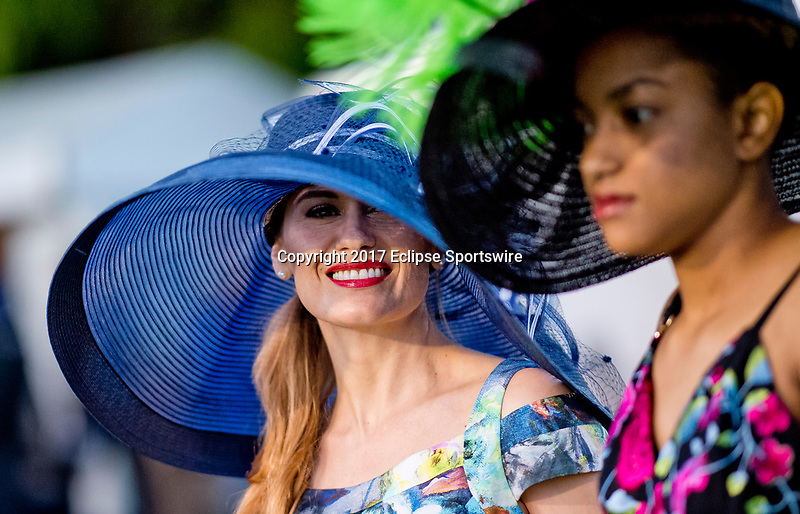 LOUISVILLE, KENTUCKY - MAY 02: Models show off Kentucky Derby fashion during Kentucky Derby and Oaks preparations at Churchill Downs on May 2, 2017 in Louisville, Kentucky. (Photo by Scott Serio/Eclipse Sportswire/Getty Images)