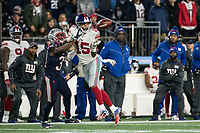 FOXBORO, MA - OCTOBER 10: New York Giants Wide Receiver Golden Tate (15) catches a pass with New England Patriots Defensive back Jonathan Jones (31) attempting to block during a game between New York Giants and New England Patriots at Gillettes on October 10, 2019 in Foxboro, Massachusetts.