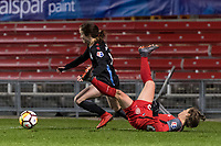 Bridgeview, IL - Saturday March 31, 2018: Michele Vasconcelos, Meghan Klingenberg during a regular season National Women's Soccer League (NWSL) match between the Chicago Red Stars and the Portland Thorns FC at Toyota Park.
