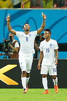 Daniel Sturridge of England celebrates scoring a goal after making it 1-1