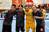 20191010 - HALLE: Benfica's Afonso Jesus, Chaguinh,Andre ousa and Fernandinho are is pictured after the UEFA Futsal Champions League Main Round match between Araz Naxcivan and SL Benfica on 10th October 2019 at De Bres Sportcomplex, Halle, Belgium. PHOTO SPORTPIX | SEVIL OKTEM