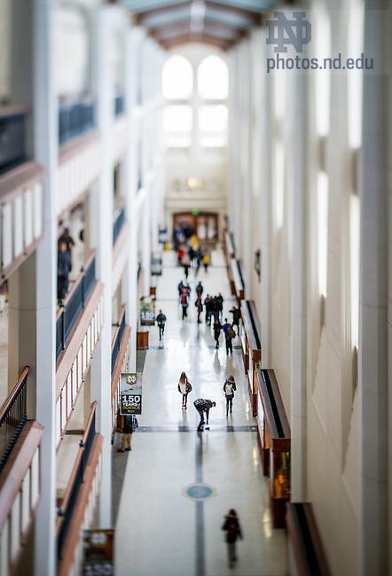 Feb. 18, 2015; Galleria of Jordan Hall of Science. For Notre Dame Magazine. (Photo by Matt Cashore/University of Notre Dame)
