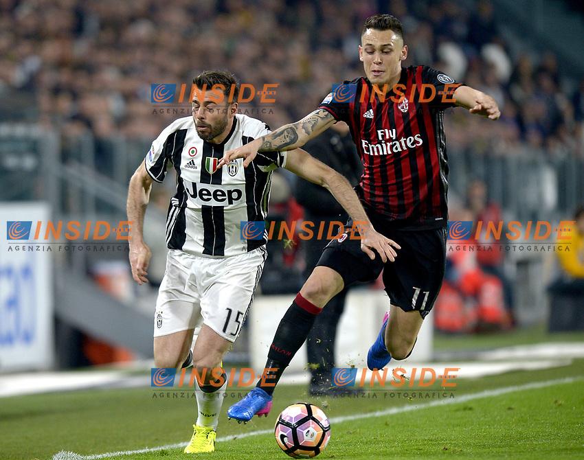 Andrea Barzagli Juventus, Lucas Ocampos Milan <br /> Torino 10-03-2017, Juventus Stadium, Football Calcio 2016/2017 Serie A, Juventus - Milan, Foto Filippo Alfero/Insidefoto