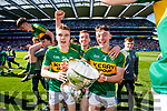 Dylan Casey, Barry Mahony and Cian Gammell Kerry Minors celebrate with the Tom Markham Cup after defeating Derry in the All-Ireland Minor Footballl Final in Croke Park on Sunday.