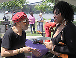 A fan chats with, Charenee Wade, after her performance at the Annual Jazz in the Valley Festival,  in Waryas Park in Poughkeepsie, NY, on Sunday, August 21, 2016. Photo by Jim Peppler. Copyright Jim Peppler 2016 all rights reserved.