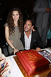 Alicia Minshew and Ricky Paull Goldin cut AMC cake at All My Children's Good Night Pine Valley was held on September 17, 2011 at Prohibition, New York City, New York.  (Photo by Sue Coflin/Max Photos)