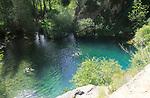 Plunge pool swimming pond, Cueva del Gato, Benaojan, Serrania de Ronda, Malaga province, Spain