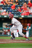 Frisco RoughRiders outfielder Nomar Mazara (12) at bat during a game against the Springfield Cardinals  on June 4, 2015 at Hammons Field in Springfield, Missouri.  Frisco defeated Springfield 8-7.  (Mike Janes/Four Seam Images)