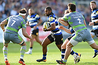 Aled Brew of Bath Rugby in possession. Aviva Premiership match, between Bath Rugby and Newcastle Falcons on September 23, 2017 at the Recreation Ground in Bath, England. Photo by: Patrick Khachfe / Onside Images