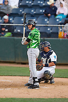 Eugene Emeralds catcher Tyler Alamo (5) at bat during a game against the Everett Aquasox at Everett Memorial Stadium in Everett, Washington.  Eugene defeated Everett 7-5. (Ronnie Allen/Four Seam Images)
