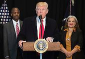 United States President Donald Trump delivers remarks after touring the Smithsonian National Museum of African American History & Culture in Washington, D.C. on February 21, 2017. Trump was joined by Dr. Ben Carson and Alveda King, niece of Martin Luther King Jr. <br /> Credit: Kevin Dietsch / Pool via CNP