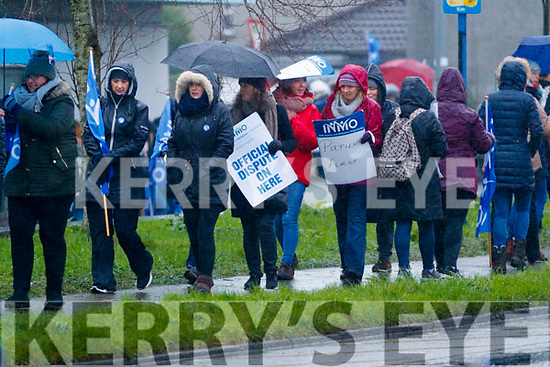 INMO Nurses on strike at University Hospital Kerry on Wednesday morning.