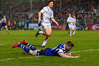 Tom De Glanville of Bath United scores a try in the first half. Premiership Rugby Shield match, between Bath United and Gloucester United on April 8, 2019 at the Recreation Ground in Bath, England. Photo by: Patrick Khachfe / Onside Images