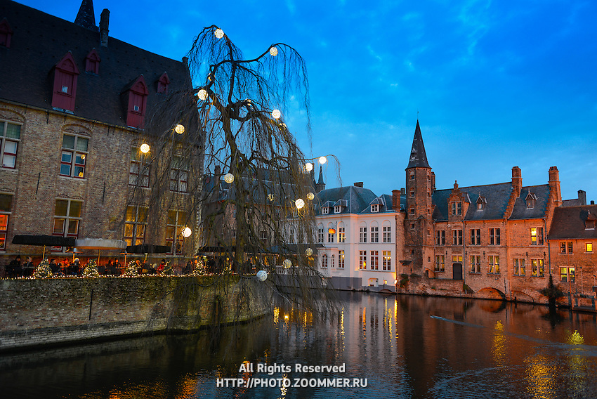 Dijver River Canal Restaurant, Brugge, Belgium