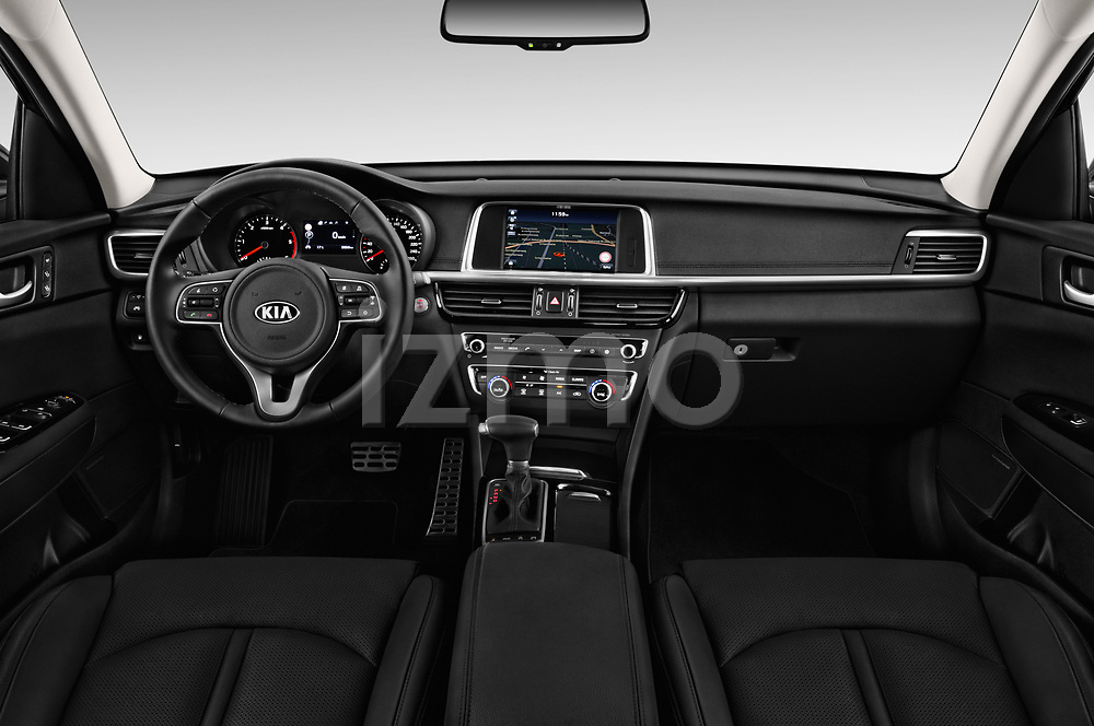 Stock photo of straight dashboard view of a 2017 KIA Optima Sportswagon Sense 5 Door Wagon