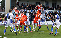 Blackpool's Armand Gnanduillet heads at goal<br /> <br /> Photographer Andrew Kearns/CameraSport<br /> <br /> The EFL Sky Bet League Two - Bristol Rovers v Blackpool - Saturday 2nd March 2019 - Memorial Stadium - Bristol<br /> <br /> World Copyright © 2019 CameraSport. All rights reserved. 43 Linden Ave. Countesthorpe. Leicester. England. LE8 5PG - Tel: +44 (0) 116 277 4147 - admin@camerasport.com - www.camerasport.com