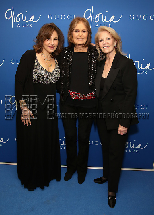 "Kathy Najimy, Gloria Steinem and Daryl Roth attend the Opening Night Performance of ""Gloria: A Life"" on October 18, 2018 at the Daryl Roth Theatre in New York City."