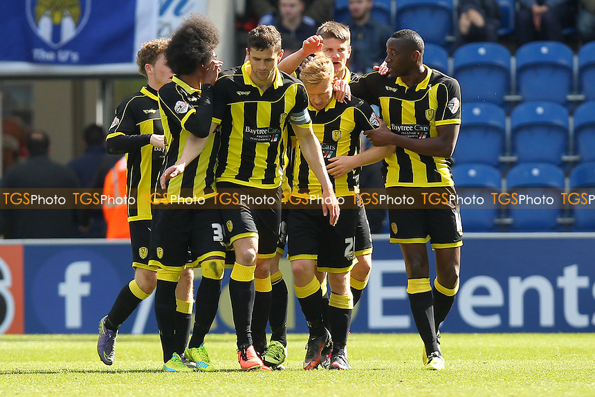 Lucas Akins of Burton Albion scores the first goal for his team and celebrates (R) during Colchester United vs Burton Albion, Sky Bet League 1 Football at the Weston Homes Community Stadium on 23rd April 2016