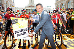 Benoit Hellings, First Alderman, before the start of Stage 1 of the 2019 Tour de France running 194.5km from Brussels to Brussels, Belgium. 6th July 2019.<br /> Picture: ASO/Olivier Chabe | Cyclefile<br /> All photos usage must carry mandatory copyright credit (© Cyclefile | ASO/Olivier Chabe)