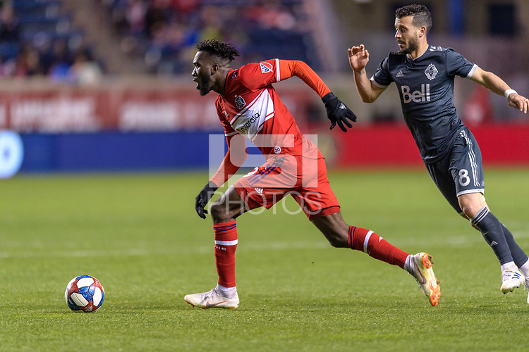 Bridgeview, IL - Friday April 12, 2019: Major League Soccer (MLS) match between the Chicago Fire and the Vancouver Whitecaps FC at SeatGeek Stadium.
