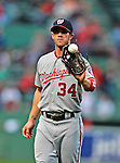 8 June 2012: Washington Nationals outfielder Bryce Harper tosses some ball prior to a game against the Boston Red Sox at Fenway Park in Boston, MA. The Nationals defeated the Red Sox 7-4 in the opening game of their 3-game series. Mandatory Credit: Ed Wolfstein Photo