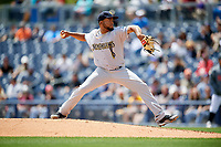 New Orleans Baby Cakes starting pitcher Odrisamer Despaigne (26) delivers a pitch during a game against the Nashville Sounds on May 1, 2017 at First Tennessee Park in Nashville, Tennessee.  Nashville defeated New Orleans 6-4.  (Mike Janes/Four Seam Images)