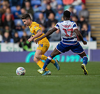 Preston North End's Sean Maguire (left) is tackled by Reading's Andy Yiadom (right) <br /> <br /> Photographer David Horton/CameraSport<br /> <br /> The EFL Sky Bet Championship - Reading v Preston North End - Saturday 19th October 2019 - Madejski Stadium - Reading<br /> <br /> World Copyright © 2019 CameraSport. All rights reserved. 43 Linden Ave. Countesthorpe. Leicester. England. LE8 5PG - Tel: +44 (0) 116 277 4147 - admin@camerasport.com - www.camerasport.com