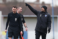 Barking manager Justin Gardner speaks to the match officials at half-time during Barking vs South Park, BetVictor League South Central Division Football at Mayesbrook Park on 7th March 2020