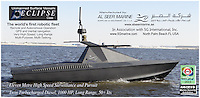 BNPS.co.uk (01202 558833).Pic: AlSeer/BNPS..***Please Use Full Byline***..Oscar- The largest 'stealth' boat in the fleet. 50 kts and 600 mile range...If you see one of these floating menacingly towards you, the advice is to get far away from it as quickly as possible...This daunting 35ft vessel belongs to the world's first fleet of unmanned 'robo-boats', designed to thwart pirates and take on dangerous covert missions without endangering the lives of crew...Looking like a cross between a miniature Navy warship and a stealth bomber, they are the waterborne equivalent of the unmanned drone planes used by the UK and US militaries in the fight against terror...The Eclipse unmanned surveillance vessels can operate 24 hours a day, travel at 60mph and can be kitted out with enough weaponry to blow adversaries out of the.water...The cutting edge boats boast state-of-the-art technology that allows it to undertake search and rescue missions or patrol dangerous waters without requiring crew...They have a range of up to 600 miles and can loiter at low speeds for 10 days without refuelling...Powered by two 500 horsepower water jets made by Rolls Royse, the Eclipse range also boast £650,000 giroscopic HD cameras which take pictures of their surroundings, analysing them for potential threats and and relaying.information back to a manned control station.