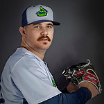 11 June 2019: Vermont Lake Monsters pitcher Hogan Harris poses for a portrait on Photo Day at Centennial Field in Burlington, Vermont. The Lake Monsters are the Single-A minor league affiliate of the Oakland Athletics and play a short season in the NY Penn League Stedler Division. Mandatory Credit: Ed Wolfstein Photo *** RAW (NEF) Image File Available ***