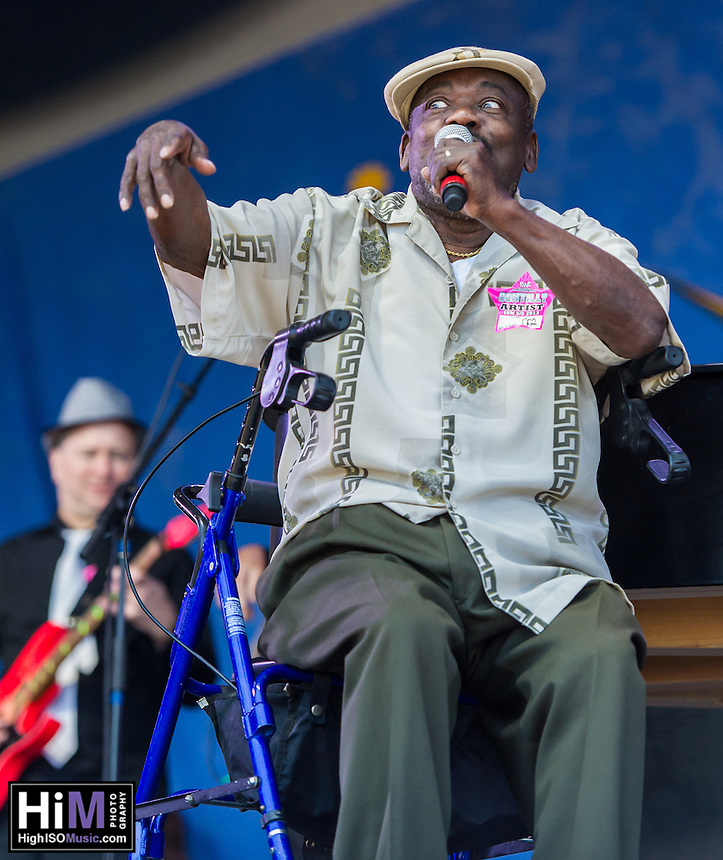 """Clarence """"Frogman"""" Henry performs at the 2013 Jazz and Heritage Festival in New Orleans, LA on May 5, 2013.  © HIGH ISO Music, LLC / Retna, Ltd."""