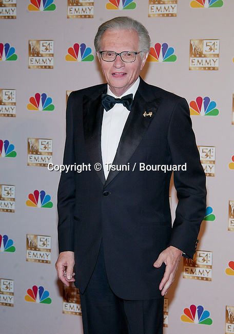 Larry King, backstage at the 54th Annual Primetime Emmy Awards at the Shrine Auditorium in Los Angeles. September 22, 2002.           -            KingLarry54.jpg
