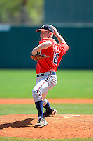 Atlanta Braves pitcher John Cornely #66 during a minor league Spring Training game against the Baltimore Orioles at Al Lang Field on March 13, 2013 in St. Petersburg, Florida.  (Mike Janes/Four Seam Images)