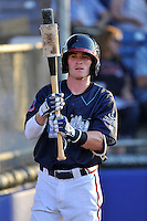 Shortstop Marcus Mooney (14) of the Danville Braves in a game against the Johnson City Cardinals on Friday, July 1, 2016, at Legion Field at Dan Daniel Memorial Park in Danville, Virginia. Johnson City won, 1-0. (Tom Priddy/Four Seam Images)
