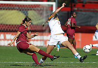 COLLEGE PARK, MD - OCTOBER 21, 2012:  Olivia Wagner (11) of the University of Maryland attempts to block a pass by Tiana Brockway (15) of Florida State during an ACC women's match at Ludwig Field in College Park, MD. on October 21. Florida won 1-0.