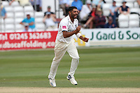 Jeetan Patel of Essex celebrates taking the wicket of Adam Wheater during Essex CCC vs Warwickshire CCC, Specsavers County Championship Division 1 Cricket at The Cloudfm County Ground on 15th July 2019