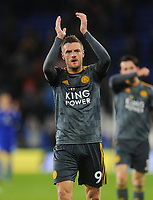 Leicester City's Jamie Vardy applauds the fans at full time<br /> <br /> Photographer Kevin Barnes/CameraSport<br /> <br /> The Premier League -  Cardiff City v Leicester City - Saturday 3rd November 2018 - Cardiff City Stadium - Cardiff<br /> <br /> World Copyright © 2018 CameraSport. All rights reserved. 43 Linden Ave. Countesthorpe. Leicester. England. LE8 5PG - Tel: +44 (0) 116 277 4147 - admin@camerasport.com - www.camerasport.com
