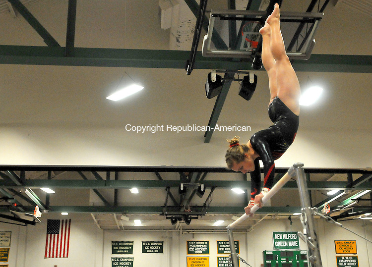 NEW MILFORD,  CT, 09 FEBRUARY  2012-020912JS11-Pomperaug's JJessica Horn performs on the bars during the SWC Gymnastics Championships Thursday at New Milford High School. .Jim Shannon Republican-American