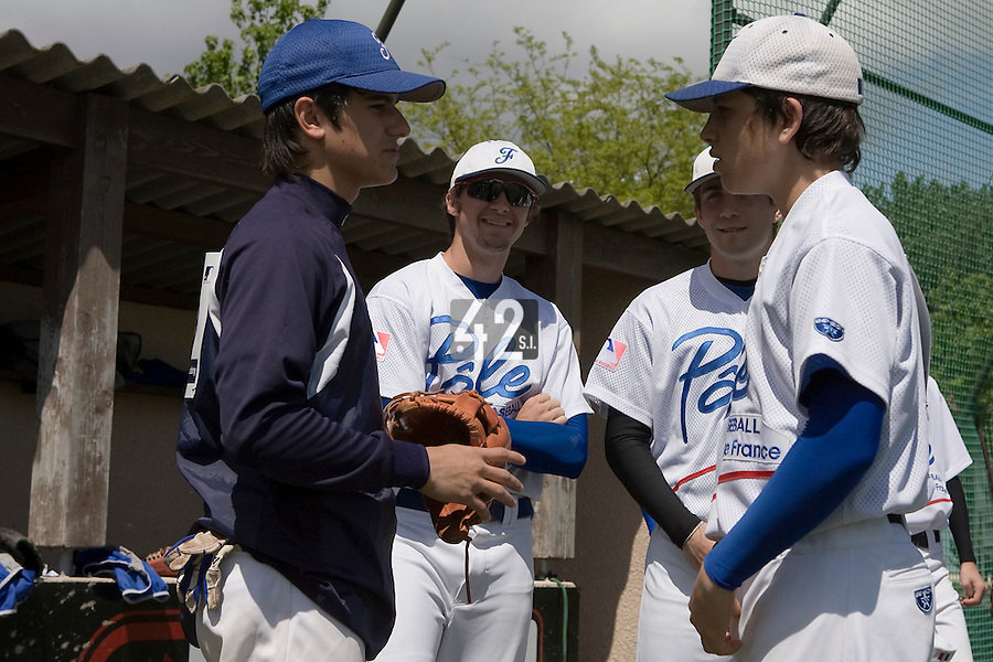 30 April 2008: French players are seen during the first of seven 2008 MLB European Academy Try-out Sessions throughout Europe, at Stade Kandy Nelson Ball Park, in Toulouse, France. Try-out sessions are run by members of the Major League Baseball Scouting Bureau with assistance from MLBI staff.