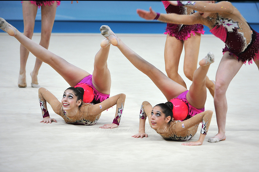 August 31, 2013 - Kiev, Ukraine -  USA RHYTHMIC GROUP (twins Monica & Jennifer Rokhman) perform with ribbon + ball at 2013 World Championships.