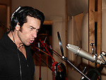 Andy Karl recording the 2012 Original Broadway Cast Recording of 'The Mystery of Edwin Drood' at the KAS Music & Sound Studios in Astoria, New York on December 10, 2012
