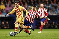 1st December 2019; Wanda Metropolitano Stadium, Madrid, Spain; La Liga Football, Atletico de Madrid versus Barcelona; Lionel Messi (FC Barcelona)  breaks away from his  marker - Editorial Use