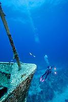 Underwater photographer, shipwreck, Bahama Islands