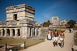 TULUM, MEXICO - APRIL 28, 2009:  Tourists visit the Tulum Ruins on April 28, 2009 in Tulum, Mexico.  (PHOTOGRAPH BY MICHAEL NAGLE)