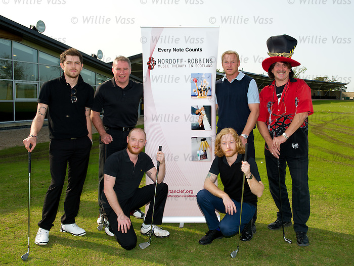 Sam McNulty (Twin Atlantic), Ally McCoist, Ben Johnston (Biffy Clyro), Jorg Albertz, James Johnston (Biffy Clyro) and Donald MacLeod (chairman of Nordof Robbins) at charity golf day at Mearns Castle golf academy