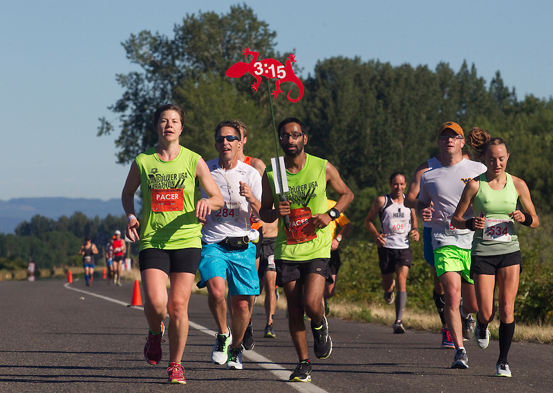 Runners take part in the Vancouver Marathon, near Vancouver Lake Sunday June 19 2016. (Photo by Natalie Behring for the Columbian)